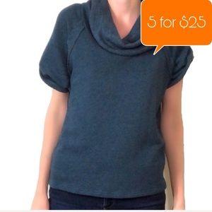 Caslon Cowl neck short sleeve teal sweater